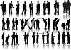Silhouettes of Business Men and Women clipart