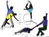 Silhouette of a Group of Ice Skaters clipart