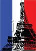 Eiffel Tower on the French Flag Background clipart