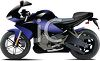 Sleek Black and Blue Motorcycle clipart