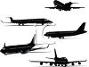 Collection of Commercial Airplane Silhouettes clipart