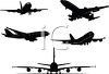 Silhouettes of Airplanes clipart