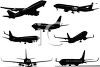 Silhouette Collection of Airplanes clipart