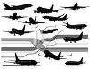 Silhouette Collection of Commercial Jets clipart