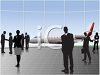 Silhouettes of Business People at an Airport clipart