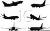Silhouette Collection of Airplanes in Flight clipart