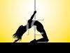 Silhouette of a Sexy Stripper Dancing on a Pole clipart