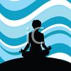 Silhouette of a Woman in Lotus Position with a Wavy Blue Background clipart