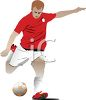 Athlete Kicking a Soccer Ball clipart
