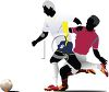 Black Silhouettes of Soccer Players clipart