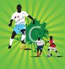 Black Soccer Players on a Green Abstract Background clipart
