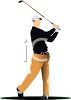 Realistic Style Man Playing Golf  clipart