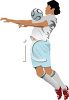 Soccer Player Bouncing the Ball on His Chest clipart