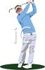 Figure in a Classic Golf Swing  clipart