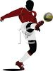 Black Silhouette of a Soccer Player Kicking the Ball High clipart