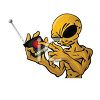 Evil Looking Alien Pressing a Button Labeled Danger  clipart