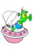 Cute Little Green Man in a Spaceship clipart