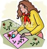 Teen Girl Gluing Paper Flowers on to a Piece of Construction Paper clipart