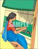 East Indian Woman Weaving on a Loom clipart