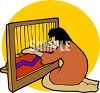 Woman Using a Loom clipart