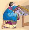Asian Woman Weaving on a Loom clipart