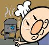 Cartoon of a Funny Guy Cooking on a Grill clipart