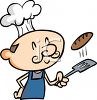 Cartoon of a Guy Flipping a Burger with a Spatula clipart