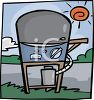 Cartoon of an Outside Propane Grill clipart