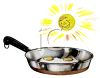 Eggs Frying in a Stainless Pan clipart
