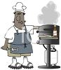 African American Dad Grilling Burgers clipart