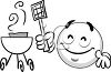 Cartoon of a Smiley Grilling clipart