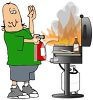 Cartoon of a Dad Putting a Grill Fire clipart