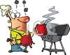 Cartoon of a Dad Starting a Grill with Gasoline clipart