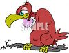 Cartoon buzzard or vulture sitting on a tree limb clipart