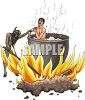 Cannibal Devil Cooking a Man in a Huge Pot clipart