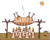 Pig Cooking On a Spit Over Candles clipart