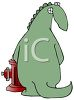 Dinosaur Caught Peeing on a Fire Hydrant clipart