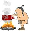 Cartoon of an American Indian Making Smoke Signals clipart