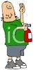 Cartoon of a Man Holding a Fire Extinguisher clipart