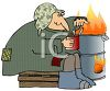 Transient Eating Beans Next to a Barrel Fire clipart
