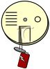 Battery Hanging Out of a Fire Alarm/Smoke Detector clipart