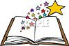 Open Book with Stars Coming Out clipart