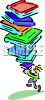 Cartoon of a Guy Holding a Really Tall Stack of Books clipart