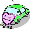 Just Married on the Back of a Car clipart