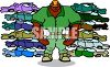 Huge Muscle Bound Guy at a Junk Yard clipart