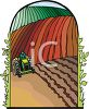Cartoon of a Man on a Tractor Driving Through His Fields clipart