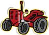 Cartoon of a Red Tractor clipart