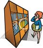 Woman Looking at a Shelf of Books in the Library clipart