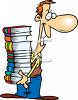 Man Holding a Large Stack of Books clipart
