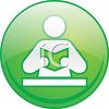 Glassy Button of a Figure Reading Icon clipart